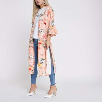 River Island Womens Petite light Pink oriental print duster coat