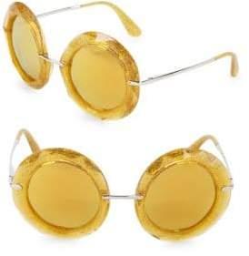 Dolce & Gabbana 50MM Glittered Round Sunglasses