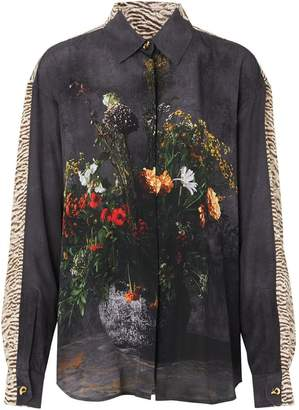 Burberry Floral And Leopard Print Silk Shirt