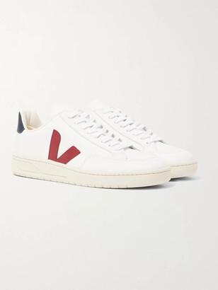 Veja V-12 Rubber-Trimmed Leather Sneakers - Men - White