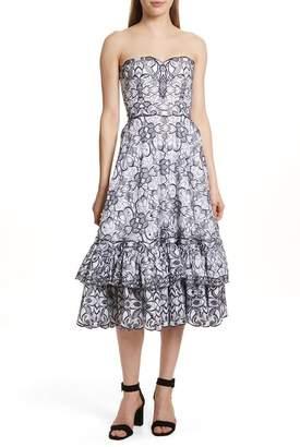 Jonathan Simkhai Scallop Hem Embroidered Strapless Dress