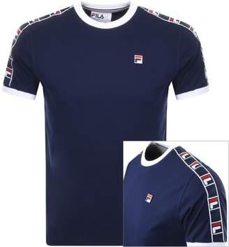 Fila Vintage Luca Crew Neck Taped T Shirt Navy
