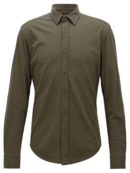 BOSS Hugo Slim-fit shirt in washed cotton-pique jersey M Open Green