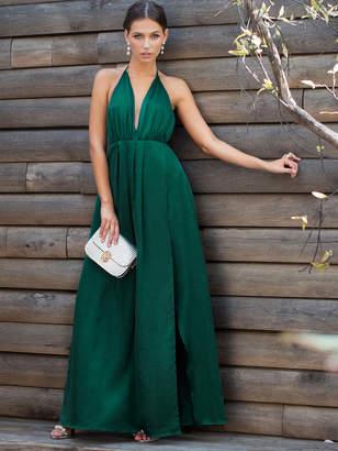 Shein Crisscross Back High Slit Cami Satin Dress