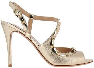 Valentino Garavani Heeled Sandals Rockstud Slingback Heels Peep-toe In Genuine Laminated Leather With Metal Studs
