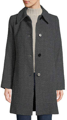 Fleurette Fitted Tweed Band-Hem Coat