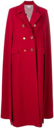 Thom Browne High-Button Pintuck Double-Breasted Cape In Pilot Cloth Melton