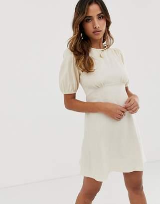 Asos Design DESIGN linen mini dress with puff sleeves