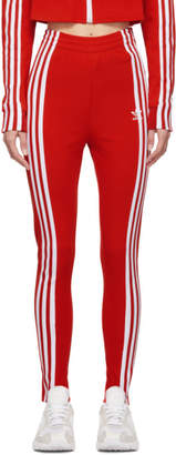 adidas Red Slim Track Pants