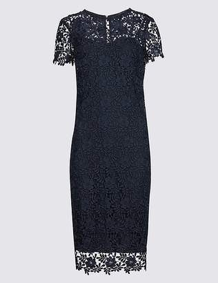 Marks and Spencer PETITE Lace Short Sleeve Bodycon Midi Dress