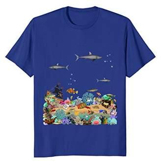 Shark Shirt Ocean Collage For Boys-Sea Life Graphic Tee Gift
