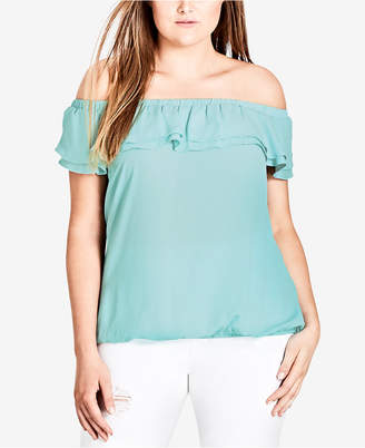 City Chic Trendy Plus Size Ruffled Off-The-Shoulder Top