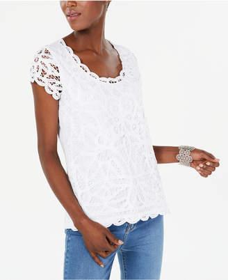 INC International Concepts I.n.c. Petite Cotton Lace Top