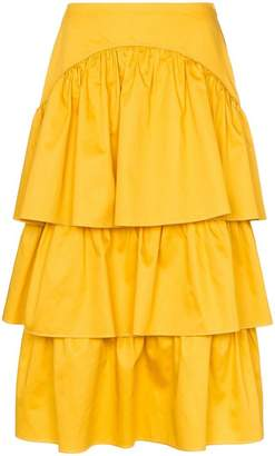 See by Chloe tiered cotton midi skirt