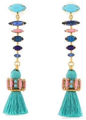 Elizabeth Cole Tasseled Gold-Tone Crystal And Stone Earrings