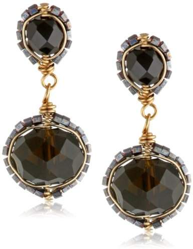 Dana Kellin Two Tier Jet Crystal Post Earrings