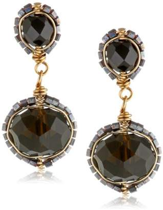 Dana Kellin Two Tier Jet Crystal Post Earrings