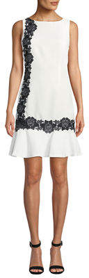 Karl Lagerfeld Paris Lace-Embroidered Flounce-Hem Dress