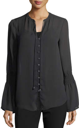 MICHAEL Michael Kors Smocked-Sleeve Button-Front Blouse