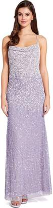 Adrianna Papell Lilac Grey Beaded Maxi Dress