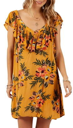 Rip Curl Sunchasers Ruffle Floral Print Cover-Up Dress