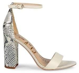 Sam Edelman Yaro Ankle-Strap Snake-Embossed Leather Sandals