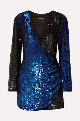 Retrofête - Christine Wrap-effect Two-tone Sequined Satin Mini Dress - Blue