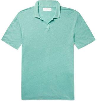 de783f6b Officine Generale Simon Garment-Dyed Slub Linen Polo Shirt