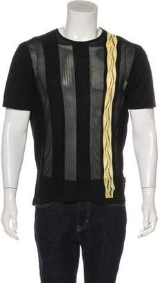Versace Rib Knit Striped T-Shirt