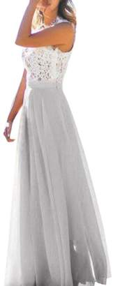 Flank Women Chiffon Stretch High Waist Maxi Dress Skater Flared Pleated Long Skirt (M, )