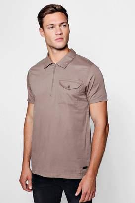 boohoo Woven Short Sleeve Overhead Shirt
