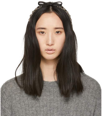 Miu Miu Silver and Black Crystal Bow Headband