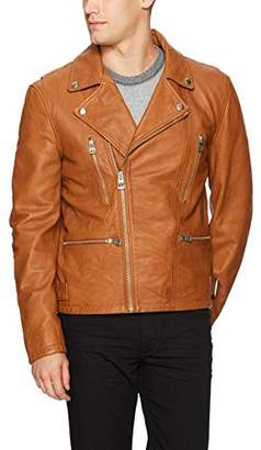 GUESS Men's Volt Leather Biker Jacket