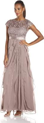 Adrianna Papell Women's Lace Bodice with Flutter Drape Gown