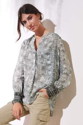 Next Womens Grey Embellished Cuff Blouse - Grey
