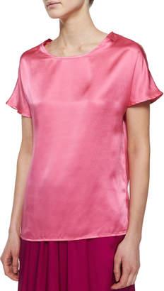 Neiman Marcus Short-Sleeve Silk Cocoon Tee