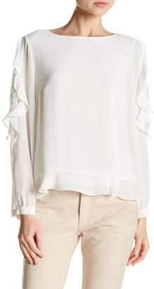 Nanette Lepore NANETTE Ruffle Sleeve Button Back Top