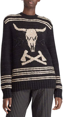 Ralph Lauren 50th Anniversary Steer Head Embroidered Crewneck Cashmere-Linen Sweater