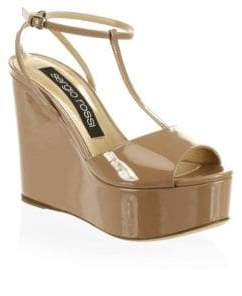 Sergio Rossi Patent Leather T-Strap Platform Wedge Sandals