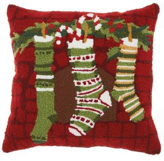 Nourison Home For The Holiday Christmas Stockings Multicolor Throw Pillow