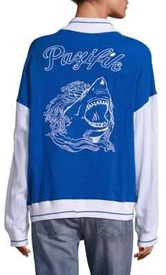 Colorblock Shark Varsity Cotton Jacket
