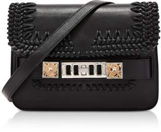 Proenza Schouler PS11 Black Smooth Leather Mini Classic Shoulder Bag wCrochet