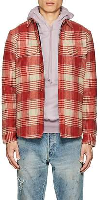 John Elliott Men's Plaid Wool Flannel Padded Shirt
