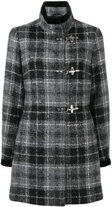 Fay lobster fastening checked coat