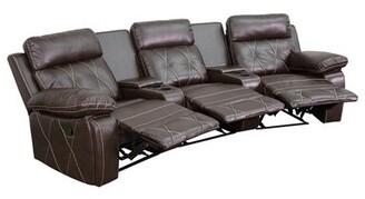 Latitude Run 3 Seat Reclining Leather Home Theater Sofa Latitude Run