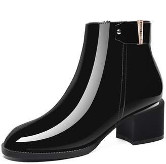 BERTERI Women's Round Head Square Heel Ankle Boot Side Zipper Bootie Waterproof 8B(M) US