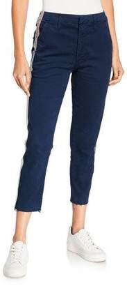 Mother Shaker Prep Side-Stripe Pants w/ Released-Hem