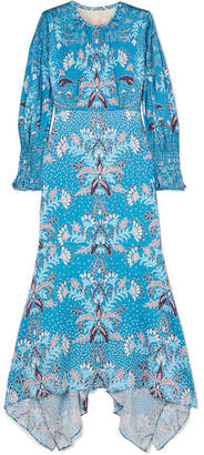 Peter Pilotto Floral-print Stretch Hammered-silk Midi Dress - Bright blue