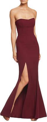 Dress the Population Ellen Strapless Gown with Thigh Slit