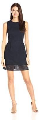 Armani Exchange A|X Women's Crew Neck Sleeveless Eyelet Mini Dress